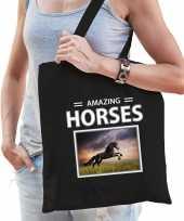 Zwarte paarden tasje zwart volwassenen kinderen amazing horses kado boodschappen tas beeldje kopen