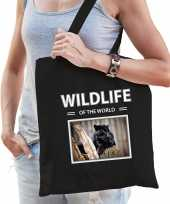 Zwarte panter tasje zwart volwassenen kinderen wildlife of the world kado boodschappen tas beeldje kopen